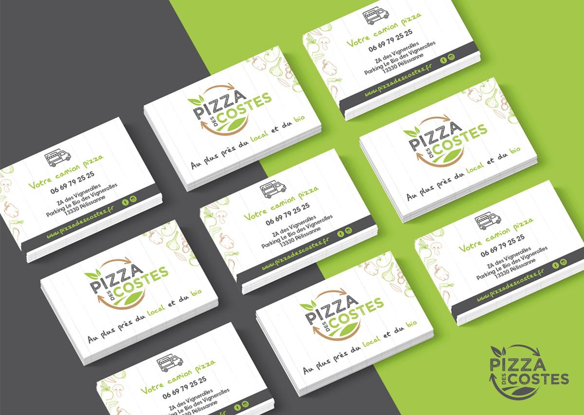 Cartes de visite Pizza des costes aaska graphisme auray morbihan