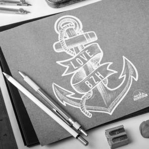 Illustration dessin ancre marine