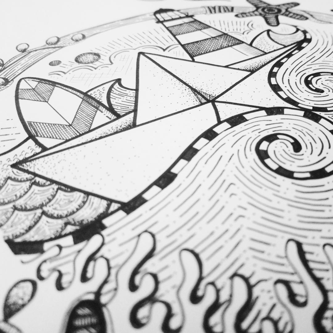 AASKA dessin MAD BZH bateau algues