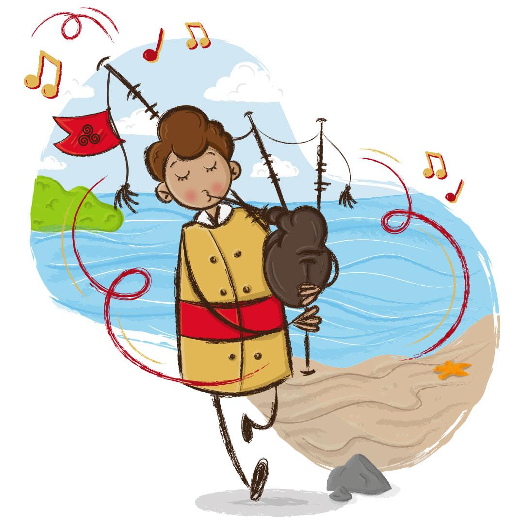 aaska illustration mascotte breton musicien